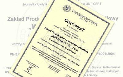 Certyfikat Zintegrowanego Systemu Zarządzania