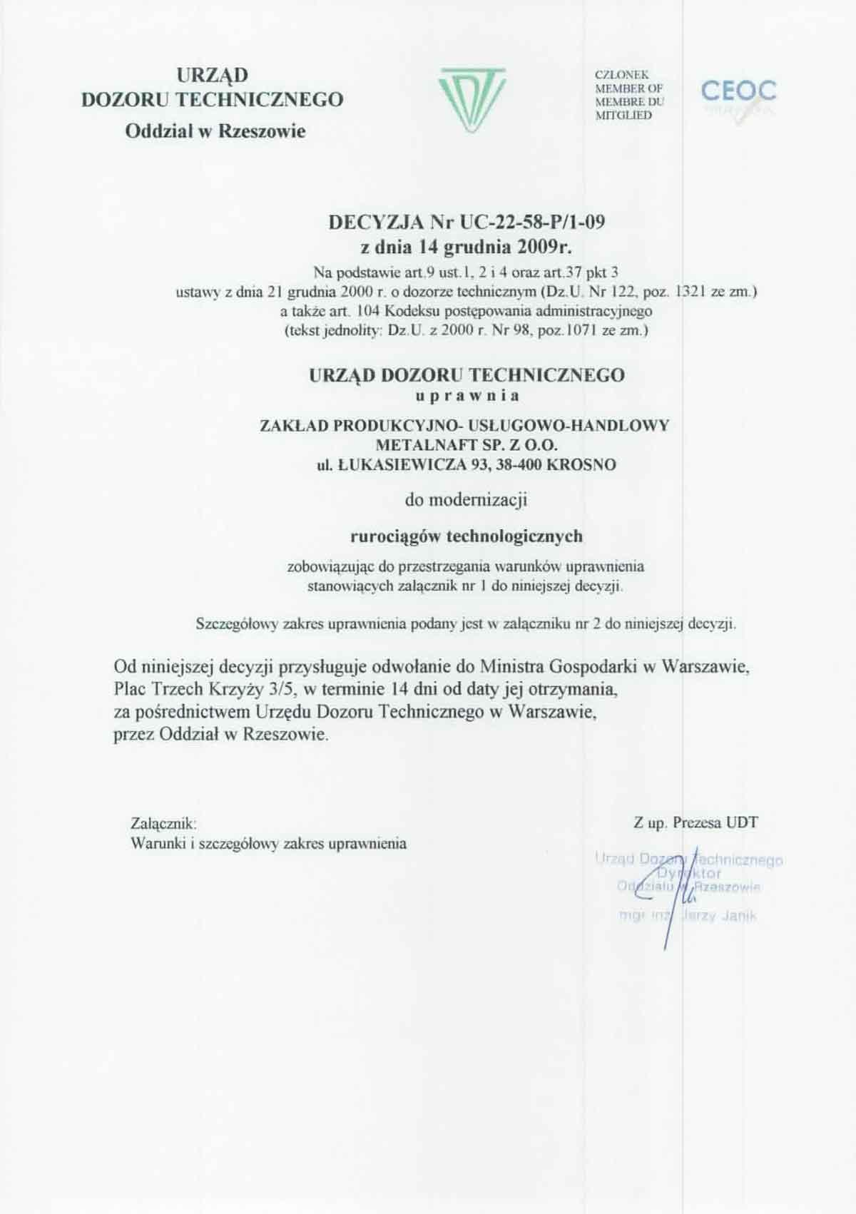 Uprawnienia UDT do modernizacji rurociągów technologicznych