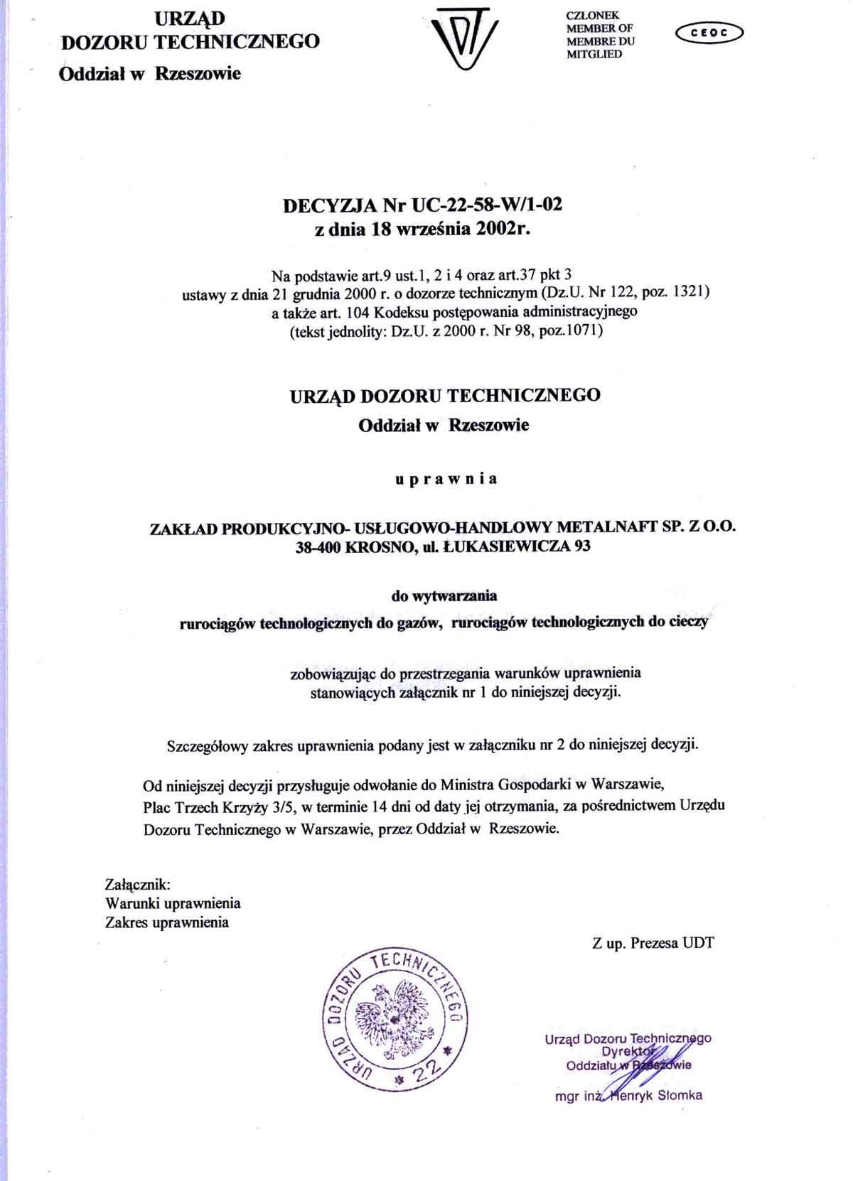 Uprawnienia UDT do wytwarzania rurociągów technologicznych