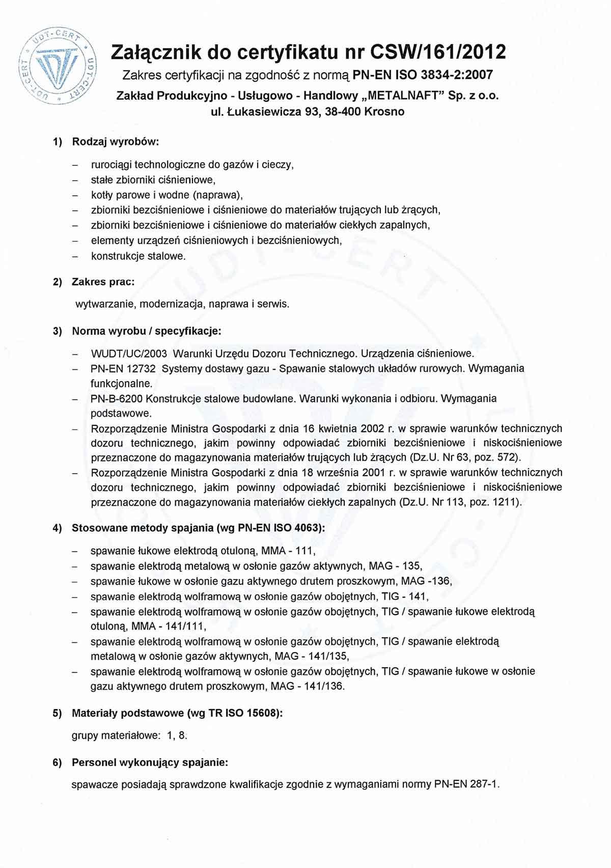 UDT-CERT Certyfikat Systemu jakości w spawalnictwie